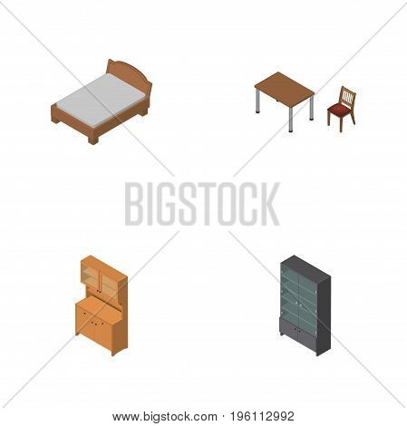 Isometric Furniture Set Of Sideboard, Chair, Bedstead And Other Vector Objects