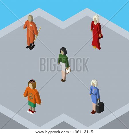Isometric Person Set Of Cleaner, Lady, Pedagogue And Other Vector Objects