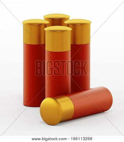 Shotgun shells isolated on white background. 3D illustration.