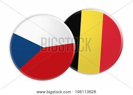 News Concept: Czech Republic Flag Button On Belgium Flag Button 3d illustration on white background
