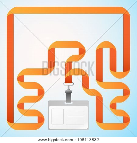Blank business plastic badge identification card with orange ribbon in light background flat vector illustration