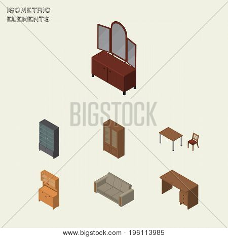 Isometric Furniture Set Of Cabinet, Couch, Chair And Other Vector Objects