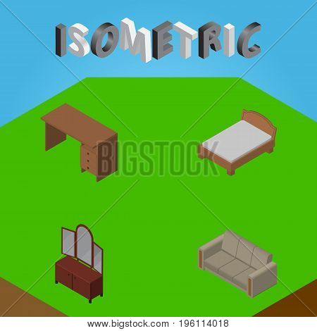 Isometric Design Set Of Bedstead, Couch, Table And Other Vector Objects