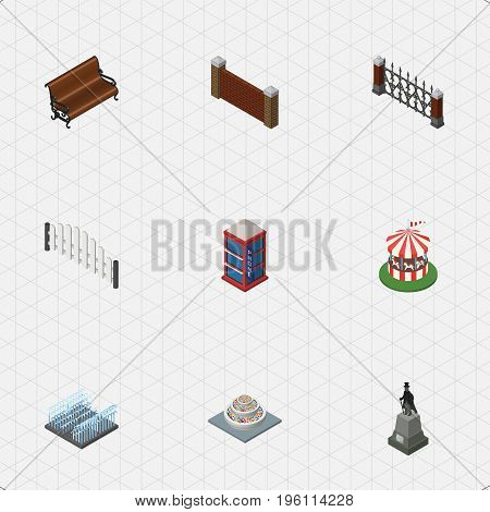 Isometric Urban Set Of Phone Box, Fence, Carousel And Other Vector Objects