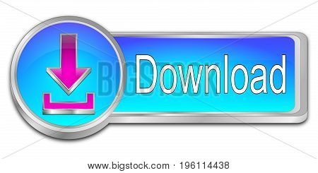 glossy blue Download button - 3D illustration