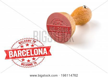 A Rubber Stamp On A White Background - Welcome To Barcelona
