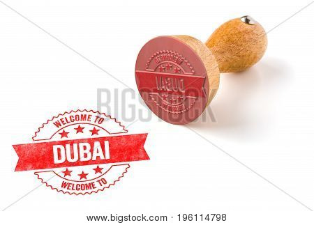 A Rubber Stamp On A White Background - Welcome To Dubai