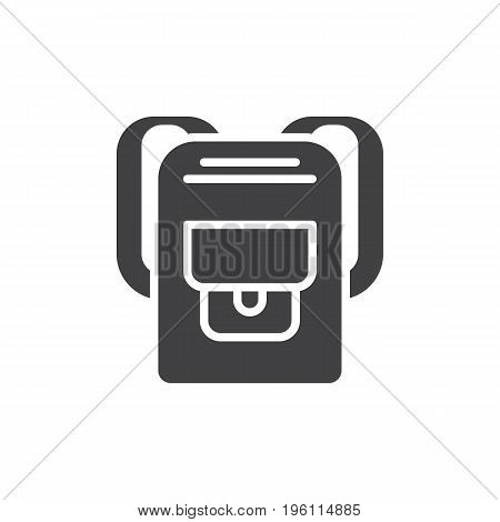 Backpack icon vector, filled flat sign, solid pictogram isolated on white. Rucksack symbol, logo illustration. Pixel perfect graphics