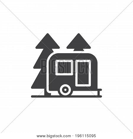 Travel camper trailer in forest icon vector, filled flat sign, solid pictogram isolated on white. Camping symbol, logo illustration. Pixel perfect graphics