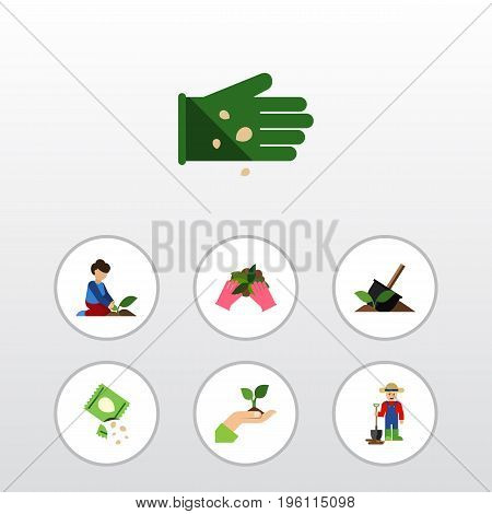 Flat Icon Plant Set Of Care, Soil, Man And Other Vector Objects