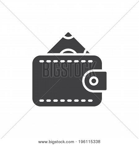 Money wallet purse icon vector, filled flat sign, solid pictogram isolated on white. Symbol, logo illustration. Pixel perfect graphics