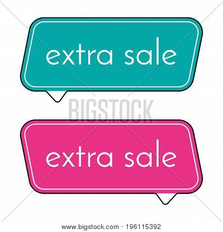 Extra sale green and pink banner on white background. Vector background with colorful design elements. Vector illustration.