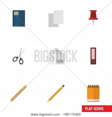 Flat Icon Tool Set Of Notepaper, Letter, Clippers And Other Vector Objects