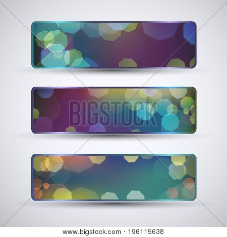 Horizontal abstract banners set with gradient effect and colorful bokeh pattern isolated on grey background flat vector illustration