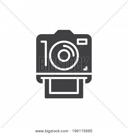Instant photo camera, icon vector, filled flat sign, solid pictogram isolated on white. Symbol, logo illustration. Pixel perfect graphics