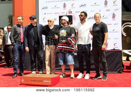LOS ANGELES - July 18:  Todd McFarlane, Kevin Feige, Stan Lee, Kevin Smith, Chadwick Boseman, Clark Gregg at the Stan Lee Ceremony at the TCL Chinese Theater IMAX on July 18, 2017 in Los Angeles, CA
