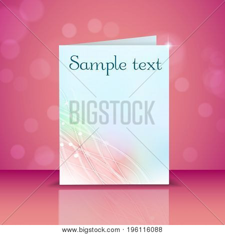 Blank pastel color greeting card with light effects lines and waves pattern on pink background with bokeh flat vector illustration