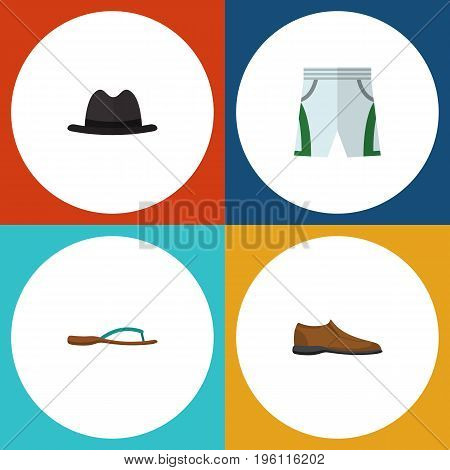 Flat Icon Dress Set Of Beach Sandal, Panama, Male Footware Vector Objects