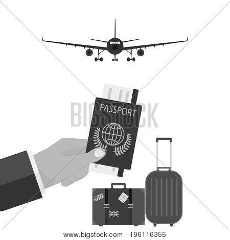 Visa passport in hand travel abroad. Flat design vector illustration vector.
