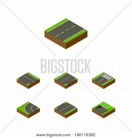 Isometric Road Set Of Subway, Down, Driveway And Other Vector Objects