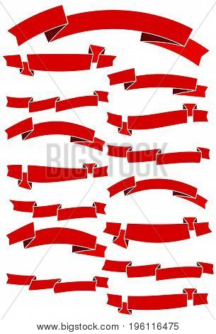 Set of fifteen red cartoon ribbons for web design. Great design element isolated on white background. Vector illustration.