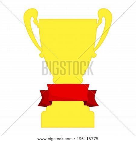 Champion cup in gold with red ribbon and incription winner. Championship prizes for first place. Victory symbols isolated on white background.