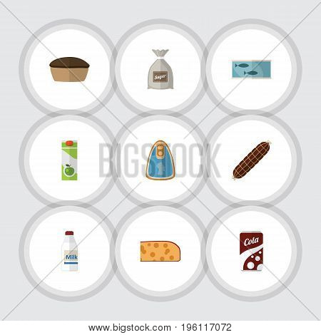Flat Icon Meal Set Of Tart, Tin Tuna, Smoked Sausage And Other Vector Objects