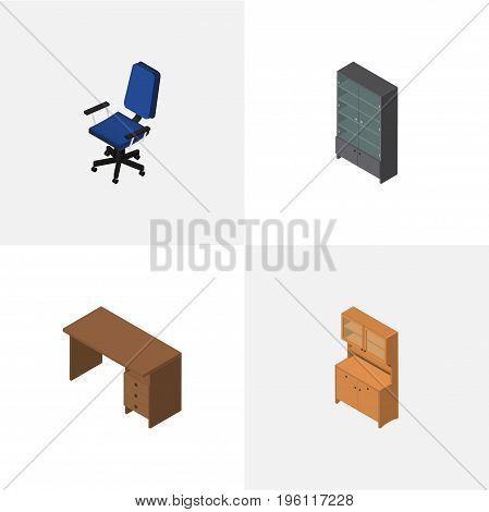 Isometric Furnishing Set Of Sideboard, Cupboard, Office And Other Vector Objects