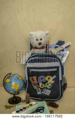 Backpack a first-grader to school with a favorite white bear
