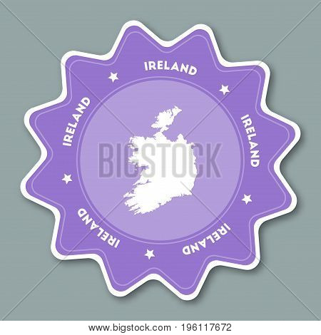 Ireland Map Sticker In Trendy Colors. Star Shaped Travel Sticker With Country Name And Map. Can Be U