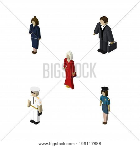 Isometric Human Set Of Businesswoman, Female, Investor And Other Vector Objects