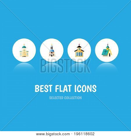 Flat Icon Church Set Of Catholic, Architecture, Religious And Other Vector Objects