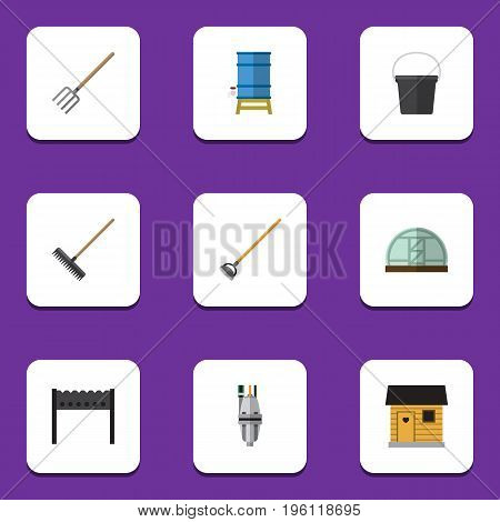 Flat Icon Dacha Set Of Tool, Stabling, Harrow And Other Vector Objects