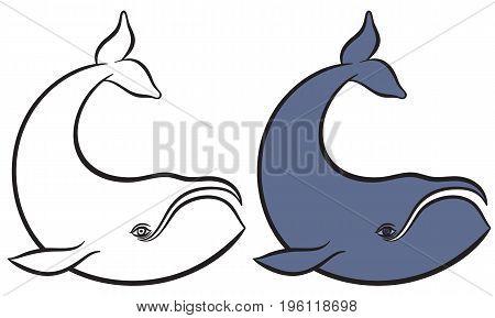 Cartoon hand drawn vector illustration of whale