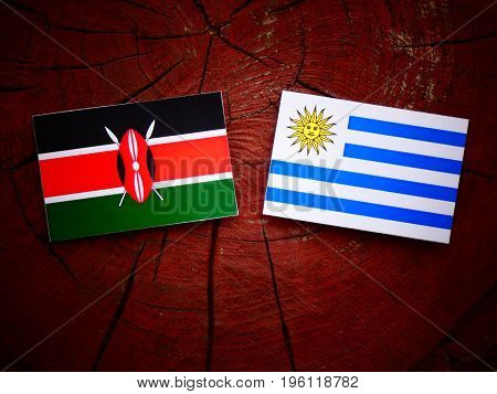 Kenyan Flag With Uruguaian Flag On A Tree Stump Isolated