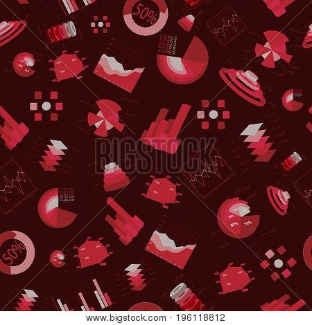 Business charts and diagramms seamless pattern in red color scattered chaotically on dark background