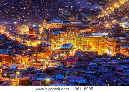 Landmark in Sichuan Top view night scene at Larung gar (Buddhist Academy) in Sichuan China