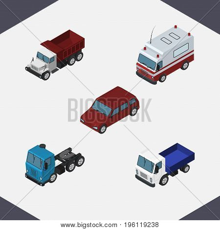 Isometric Automobile Set Of First-Aid, Truck, Lorry And Other Vector Objects