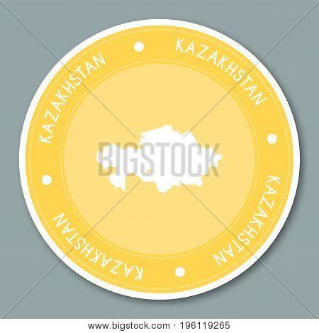 Kazakhstan Label Flat Sticker Design. Patriotic Country Map Round Lable. Country Sticker Vector Illu