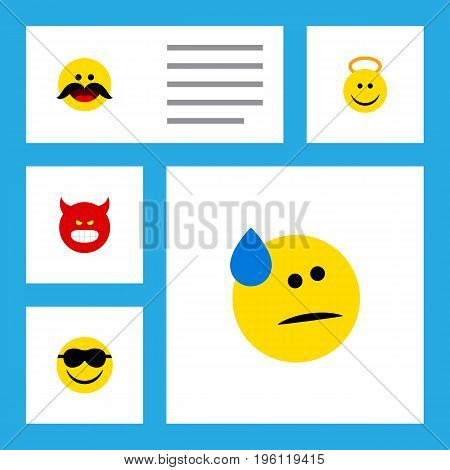 Flat Icon Gesture Set Of Tears, Cheerful, Angel And Other Vector Objects
