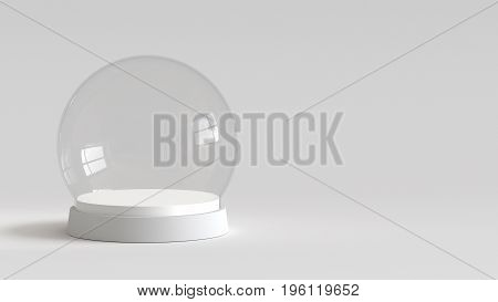 Empty snow glass ball with white tray on white background. 3D rendering.