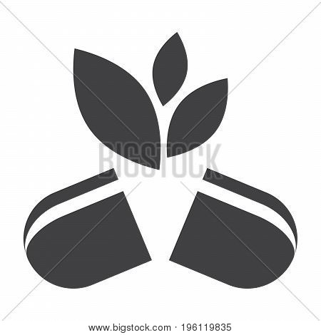 Alternative medicine concept with pill and leaves, vector silhouette