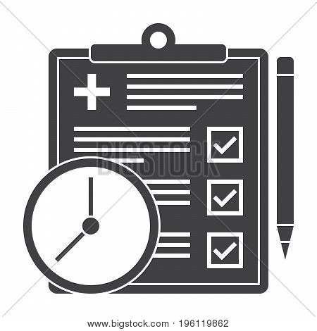 Appointment request concept with document, clock and pencil, vector silhouette