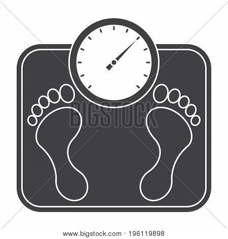 Bathroom scales, vector silhluette on white background