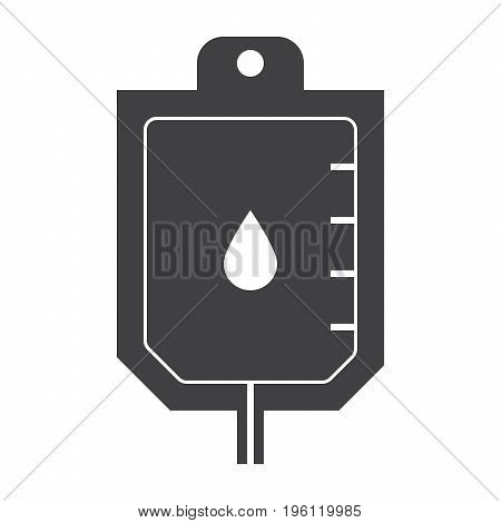 Blood transfusion concept with blood bag, vector silhouette