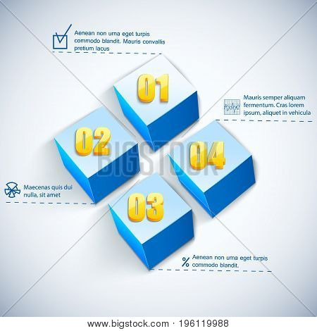 Business square diagram with text fields and figures flat vector illustration