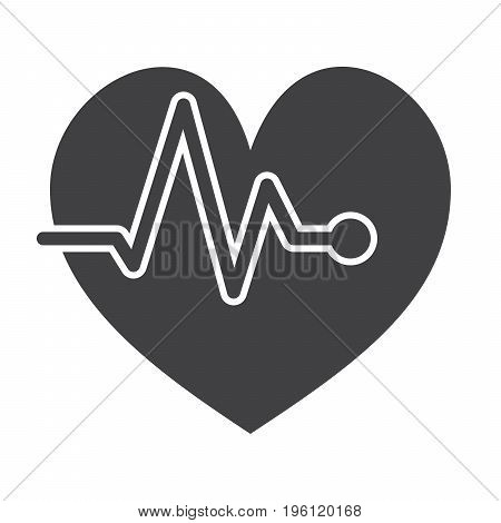 ECG concept with electrocardiography and heart, vector silhouette