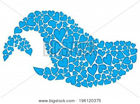 Silhouette of whale made of hearts - vector hand drawing illustration