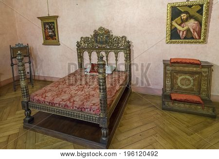 Castle Saint Angelo. Detail of bedroom. Interior view. Rome. Italy. June 2017