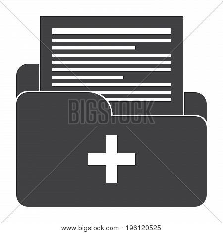 Medical files vector silhouette on white background